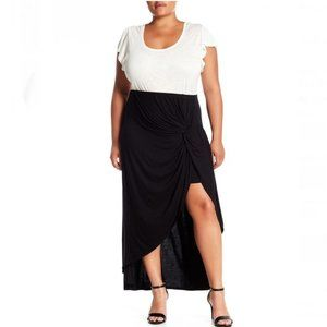 Bobeau- Black Hi-Lo Twist Front Skirt